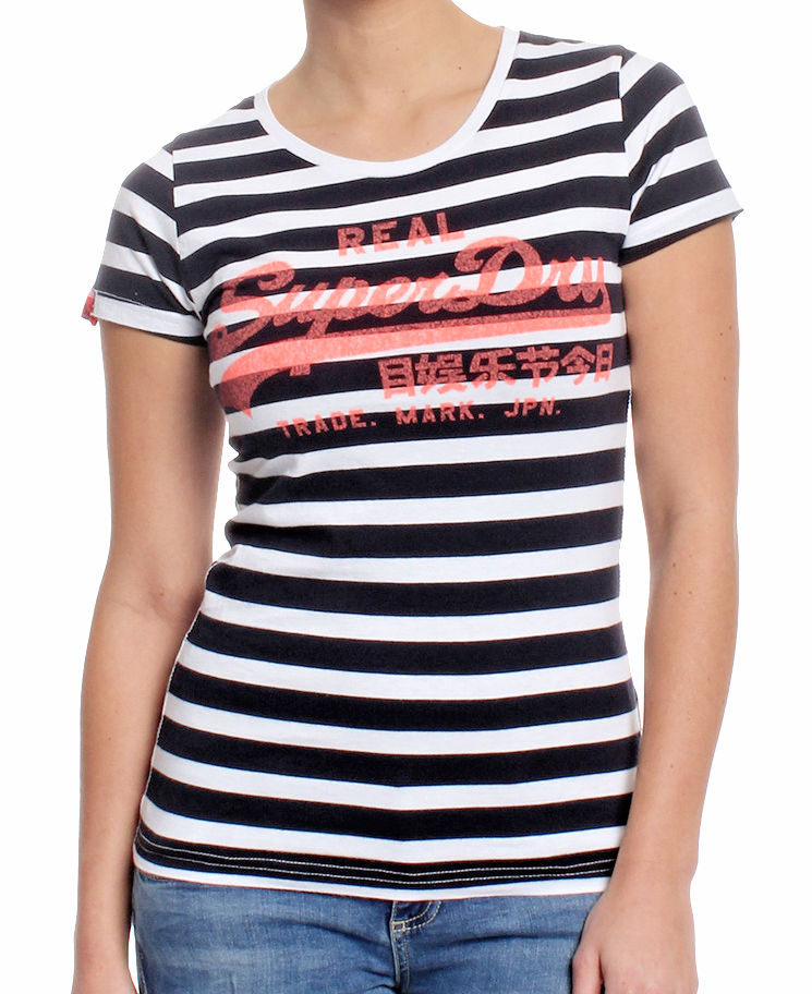 Superdry Damen T-Shirt G10023XODS navy Stripe