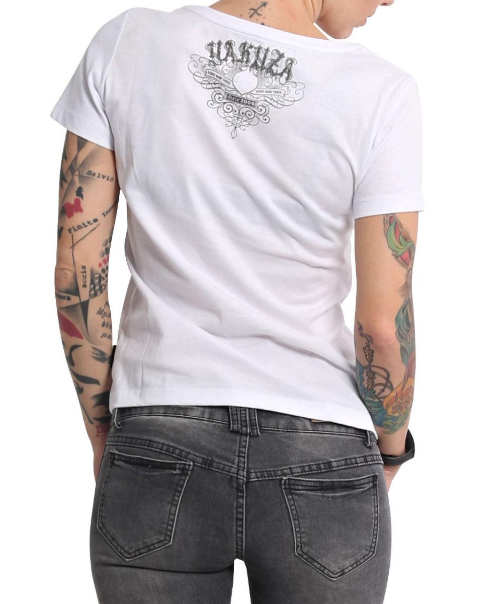 Yakuza Addiction V-Neck T-Shirt GSB-16123 weiß
