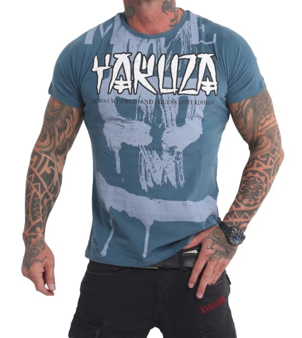 Yakuza Burning Skull T-Shirt TSB-16024 mallard blue