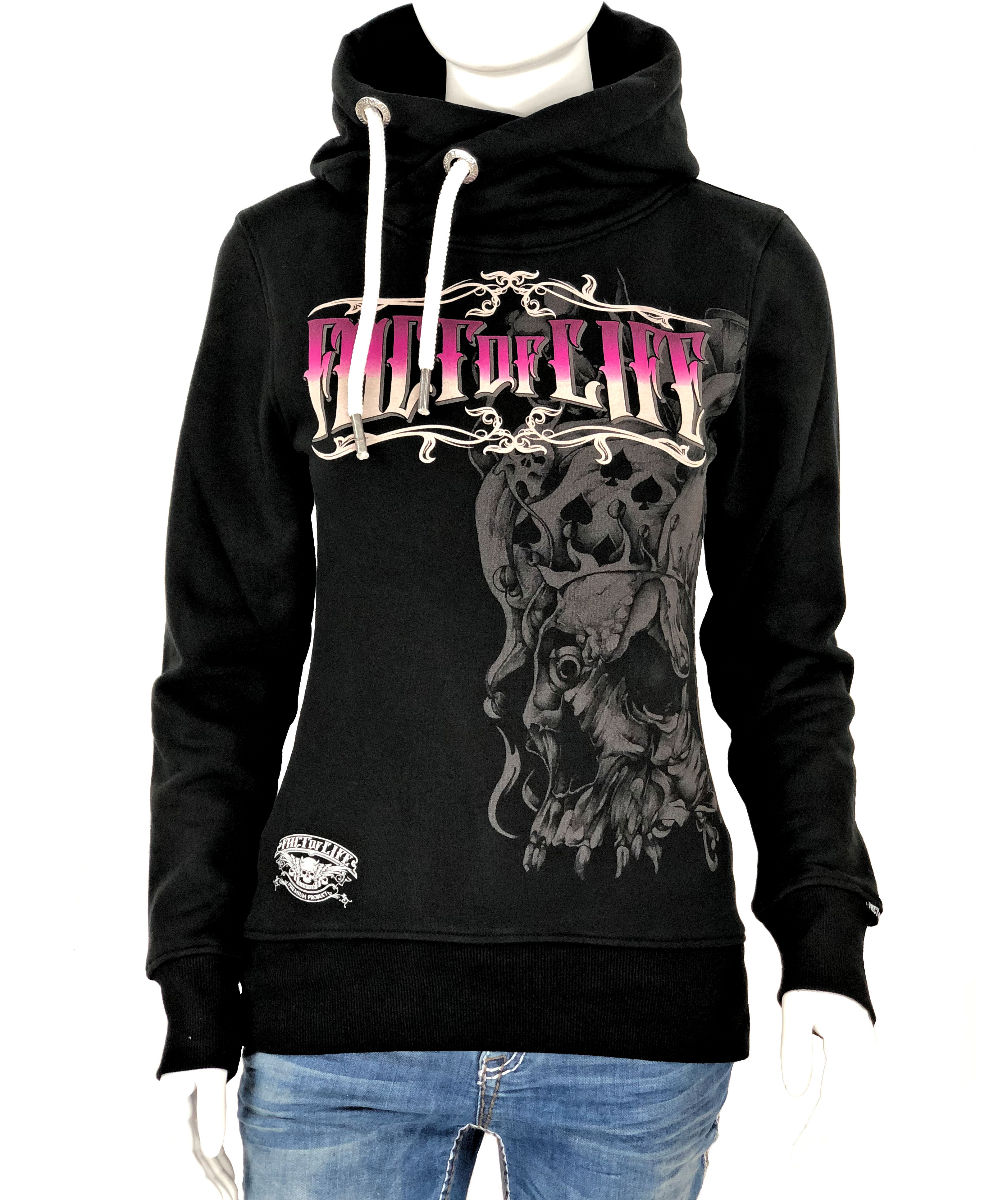 Fact of Life Damen Long-Hoodie Time is Over Lady GSH-02 black