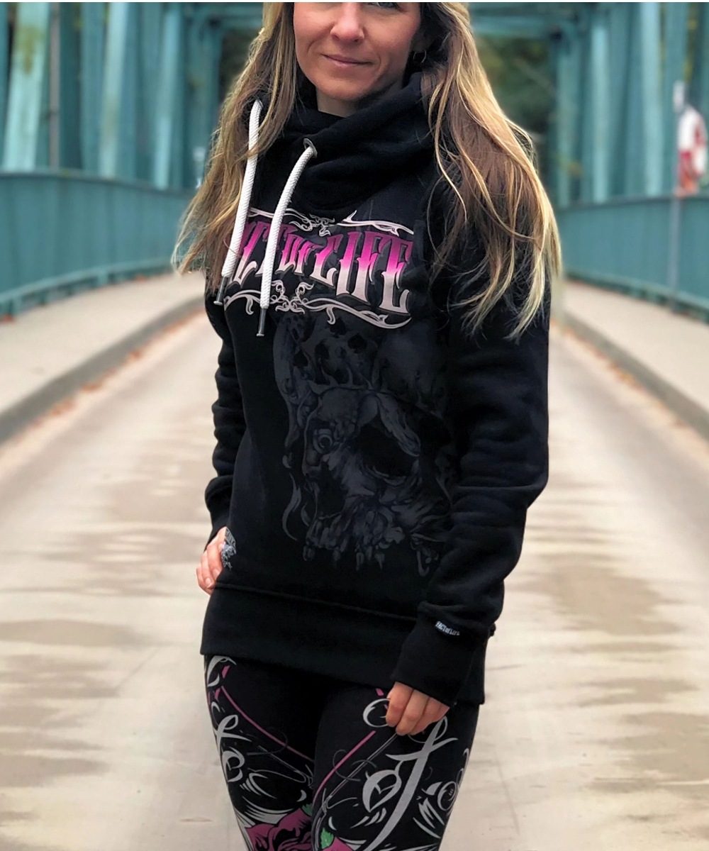 """Fact of Life Damen Hoodie """"Time is Over Lady"""" GSH-02 black"""