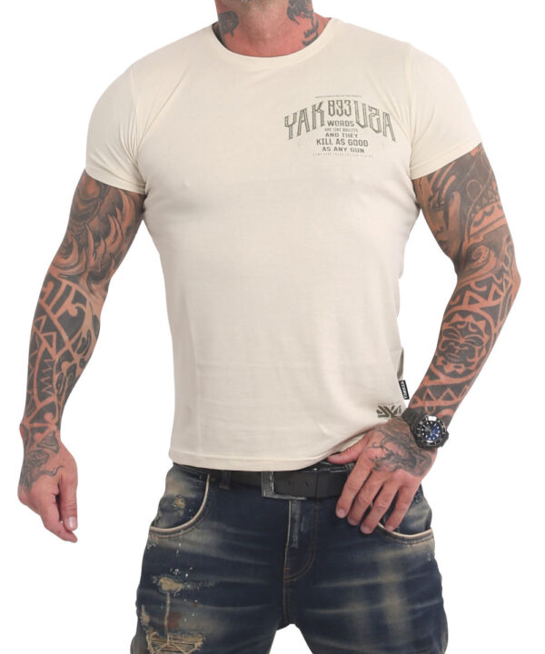 Yakuza Words Like Bullets T-Shirt TSB-17031 whitecap gray