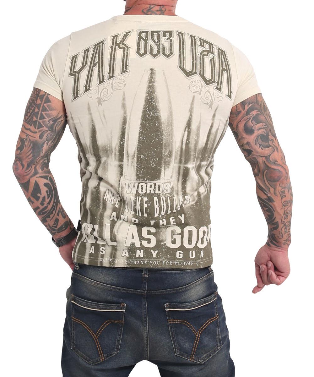 Yakuza Words Like Bullets T-Shirt TSB-17031 whitecap gray