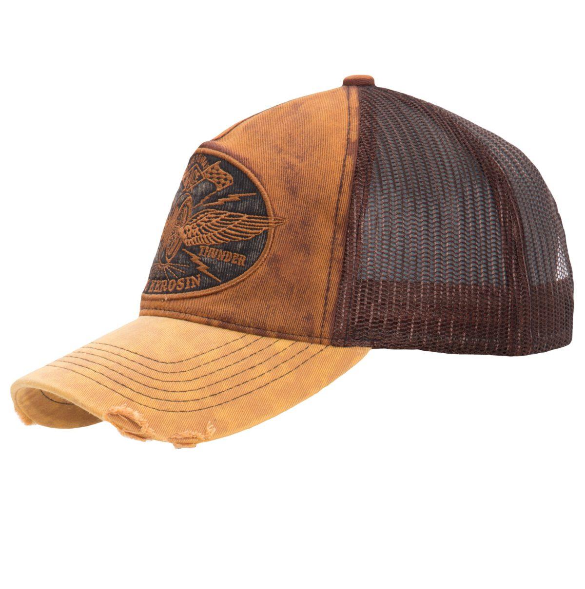 TRUCKER DENIM CAP »RIDE LIKE THUNDER« IM VINTAGE JEANS LOOK MIT STICKEREI »RIDE LIKE THUNDER«