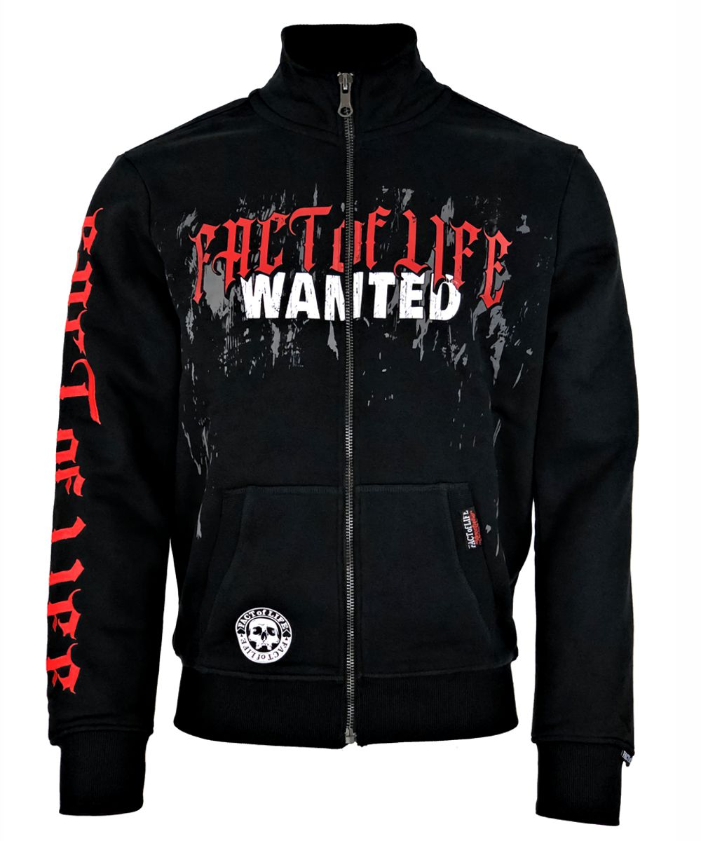 Fact of Life Herren Sweat-Jacke Wanted SJ-03 black h