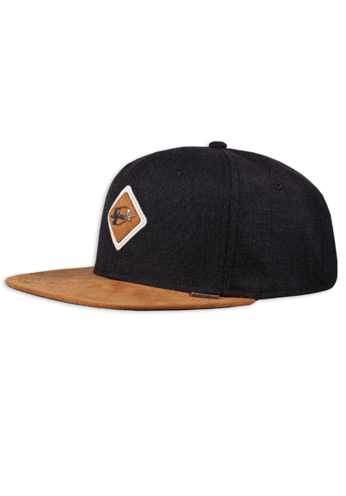 Djinns 6 Panel Snapback Cap Metal Patch Black