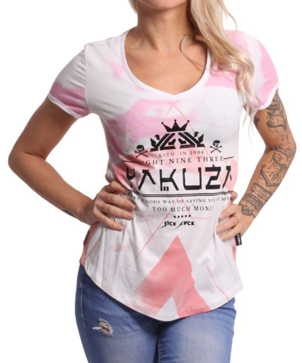Yakuza Spacy V-Neck T-Shirt GSB-17137 weiß