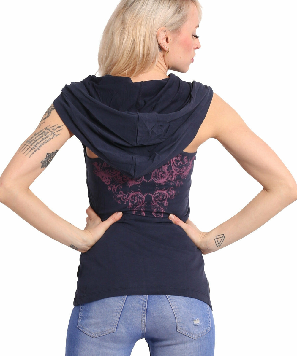 Yakuza Dark Tribe Hooded Tank Shirt GSB 17128 mood indigo