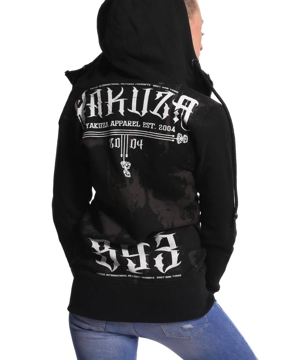 Yakuza Dark Side Long Kapuzenjacke GLHZB-9138 schwarz