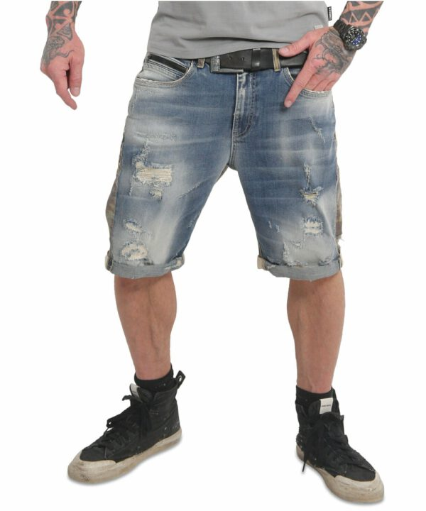 Yakuza Crusader Jeansshorts mid blue vintage destroyed