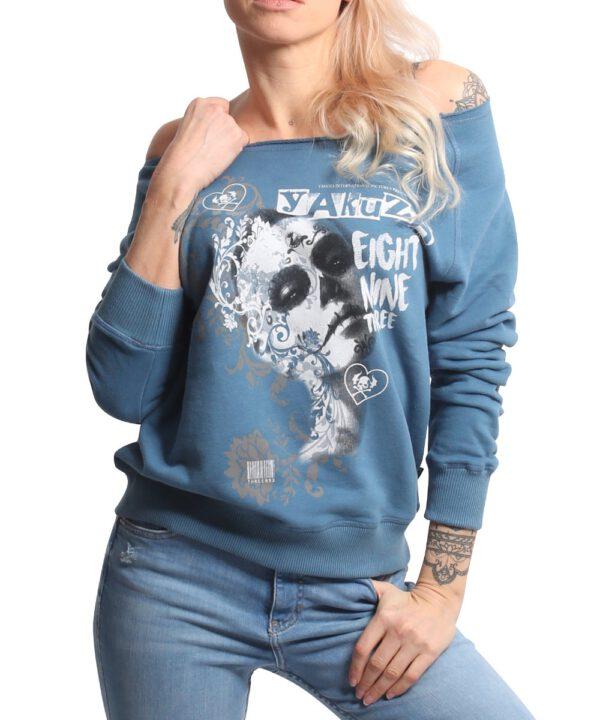 Yakuza Muerte Romantica Wide Crew Sweatshirt GPB-17109 mallard blue