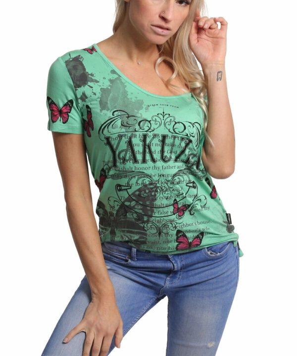 Yakuza Butterfly Meadow Crew T-Shirt GSB-17130 jade