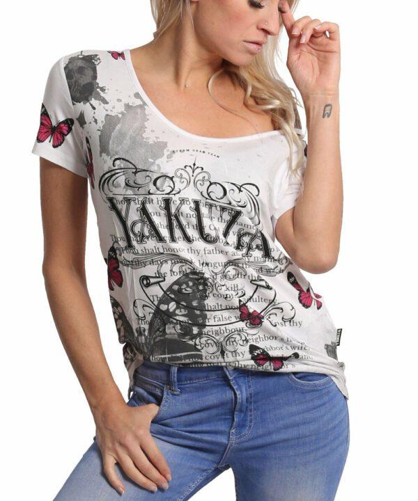 Yakuza Butterfly Meadow Crew T-Shirt GSB-17130 weiß