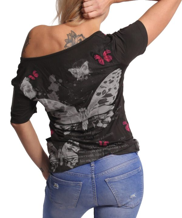 Yakuza Butterfly Meadow Crew T-Shirt GSB-17130 black