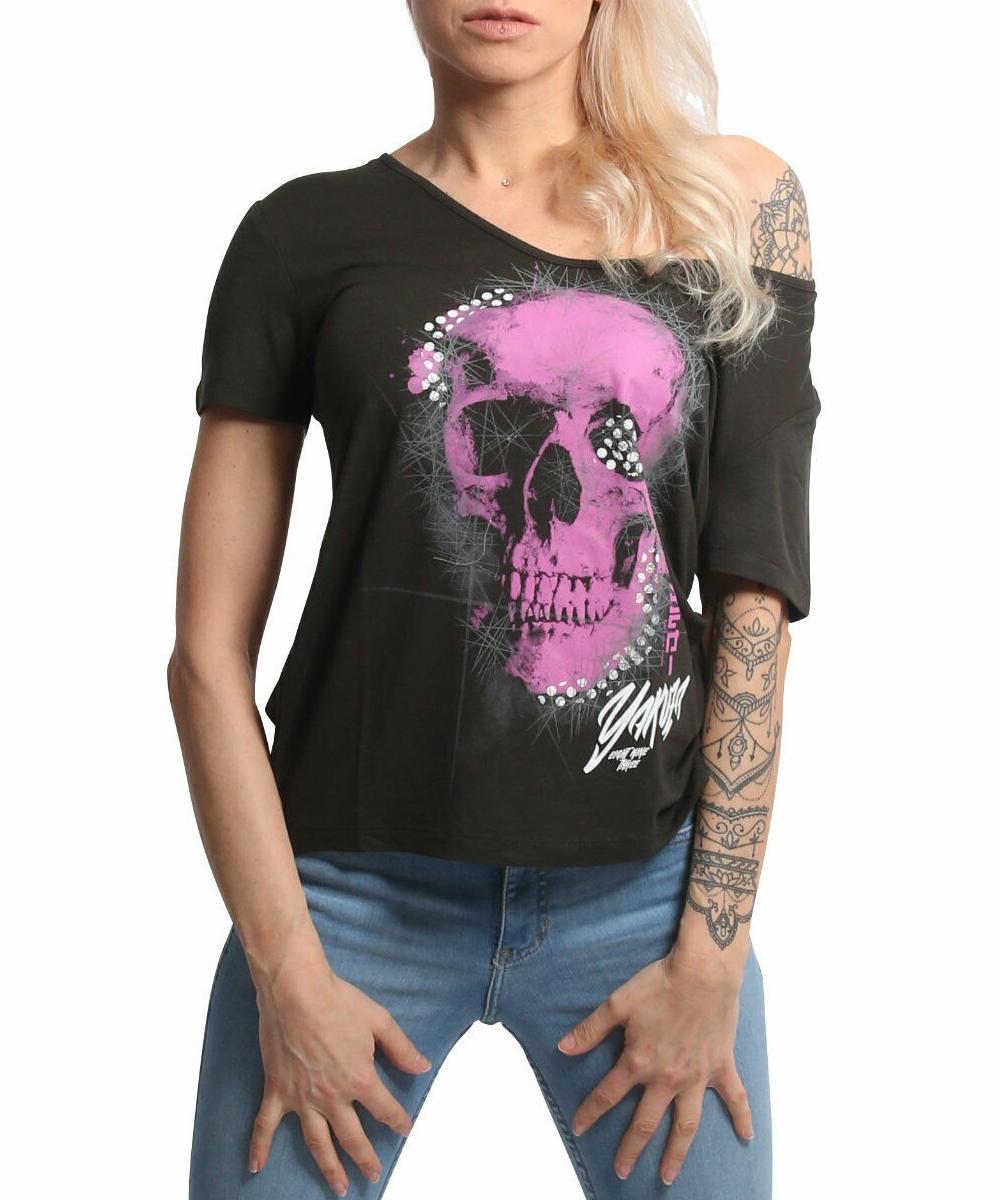 Yakuza Glowing Skull Crew T-Shirt GSB 17129 black