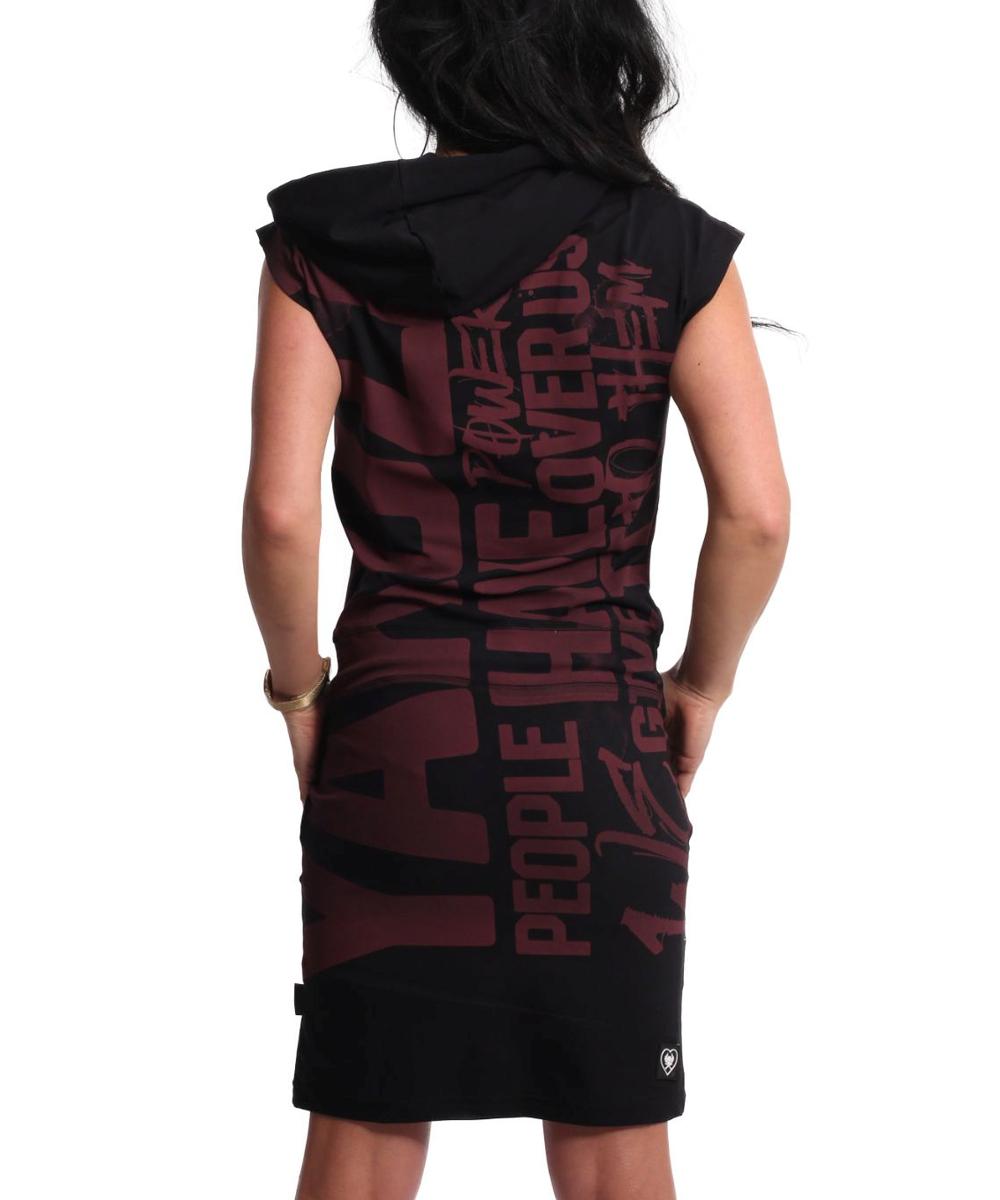 Yakuza Power Hooded T-Shirt Kleid GKB-18126 black