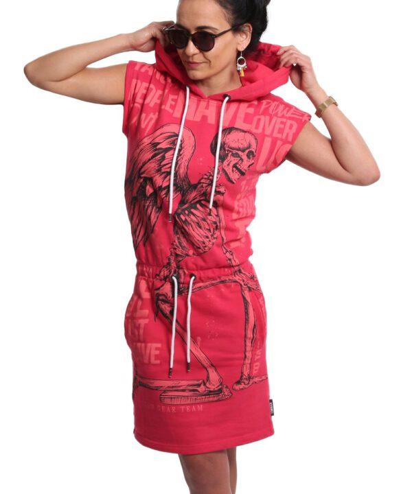Yakuza Power Hooded T-Shirt Kleid GKB-18126 geranium