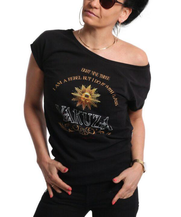 Yakuza Rebel Wide Crew Neck T-Shirt GSB-18139 black