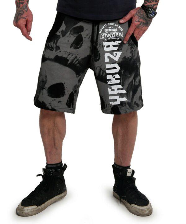 Yakuza Muerte Skull V02 Sweat Shorts SSB-18098 schwarz