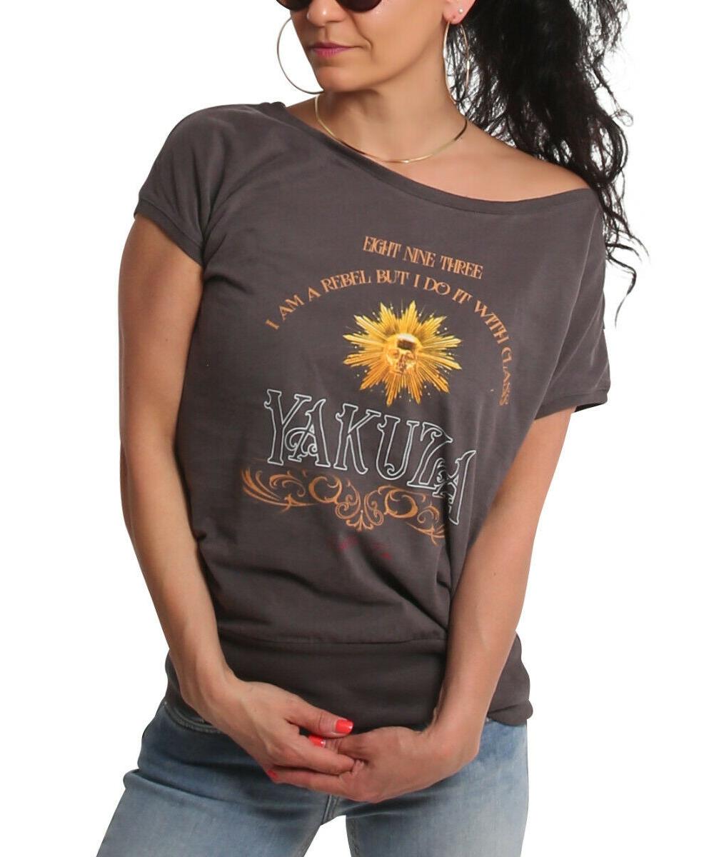 Yakuza Rebel Wide Crew Neck T-Shirt GSB-18139 dark