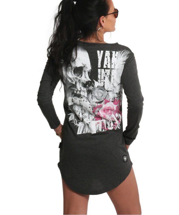 Yakuza Feather Rose Langarm T-Shirt Kleid anthra