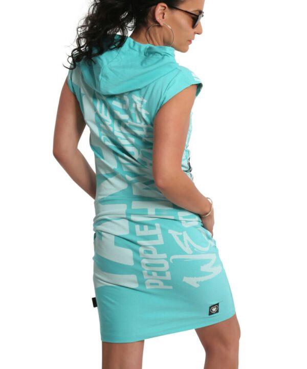 Yakuza Power Hooded T-Shirt Kleid GKB-18126 turquoise
