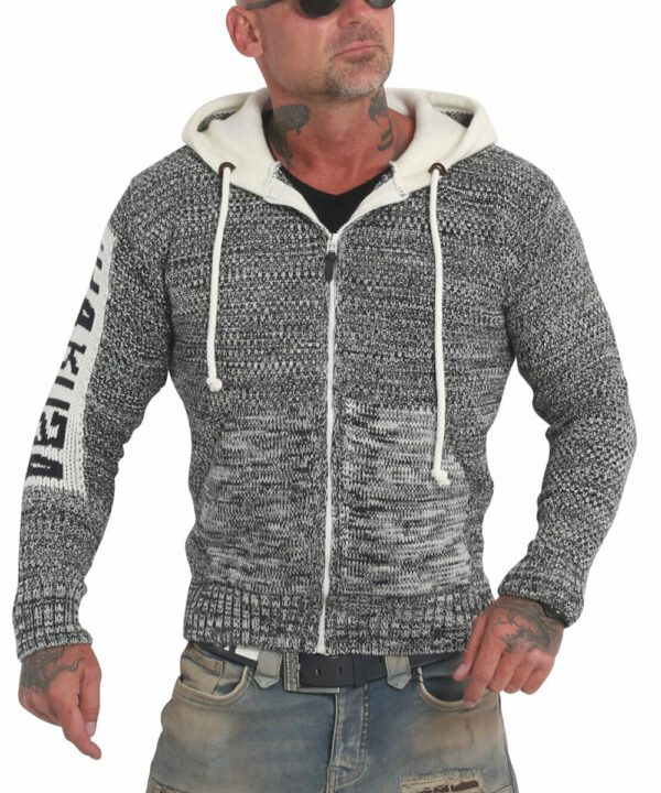 Yakuza Spoosh Knit Kapuzenjacke HZB-18087 whitecap gray