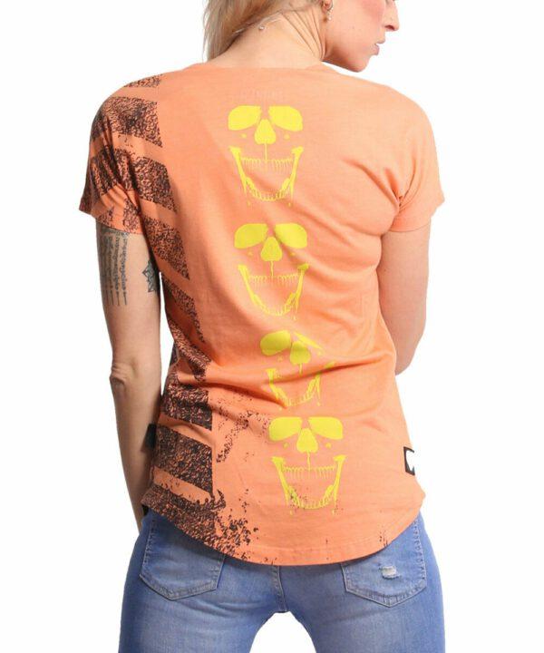 Yakuza Lighting Skull Dye V-Neck T-Shirt GSB-18135 papaya punch