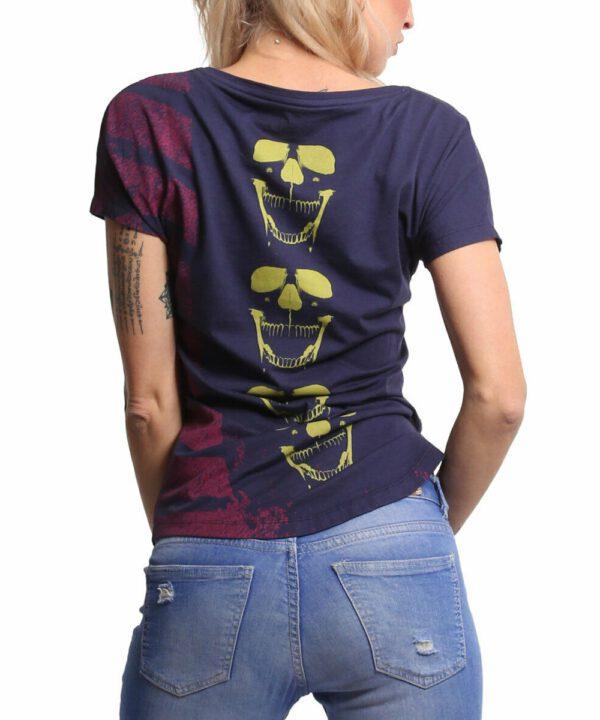 Yakuza Lighting Skull Dye V-Neck T-Shirt GSB-18135 parsian night
