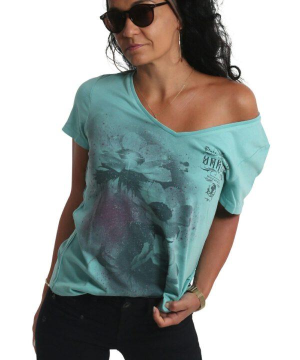 Yakuza Flower Style Dye V-Neck T-Shirt GSB-19121 turquoise