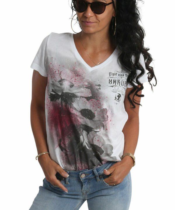 Yakuza Flower Style Dye V-Neck T-Shirt GSB-19121 weiß