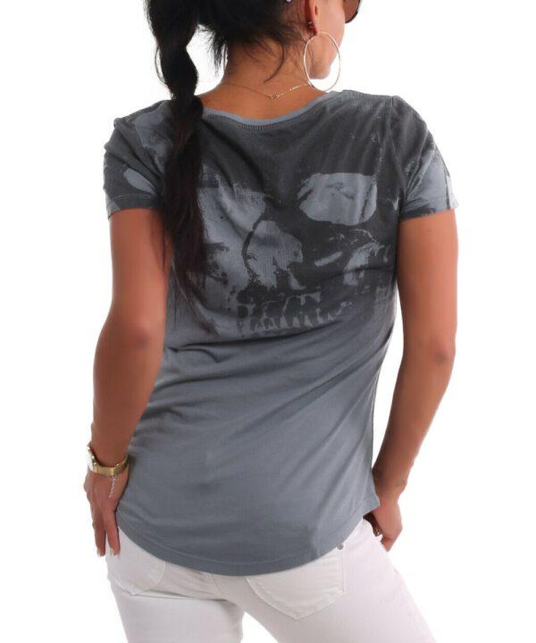 Gradient Skull Dye V-Neck T-Shirt
